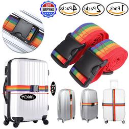 1/2/4 Pack Travel Luggage Suitcase Strap Rainbow Color Belt