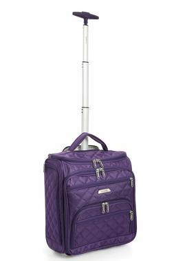 Aerolite 1013 Carry On Under Seat Wheeled Luggage Bag Purple