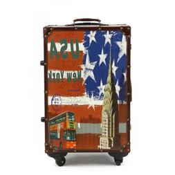 "14""/16""/20""/24""/26"" Retro USA Luggage Spinner Cabin Trolley"