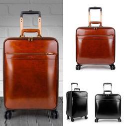 16 20 Inch Genuine Leather Suitcase Retro Cabin Trolley Eleg