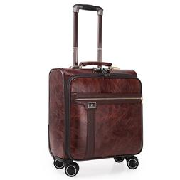 16 Inch Leather Suitcase Men Business Luggage With Wheels El