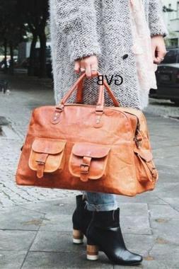 "16"" women's Vintage Brown Real Leather Luggage Duffel Gym Ov"