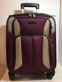 "Rockland 18"" Burgundy Luggage with Wheels and Expandable Han"