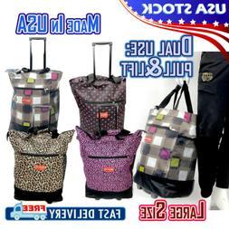 "19"" Rolling Wheeled Duffle Bag Trolley Bag Tote Carry On Lug"