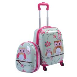 2 PC Children Kid Girl Rolling Carry-on Travel Suitcase Back