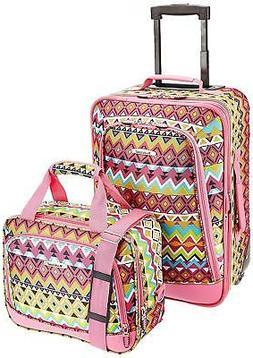 """2-Piece Expandable Luggage Set Girls 9"""" Carry-On Upright Fli"""