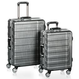 QuaCity 2 Piece Luggage Sets Aluminum Frame PC+ABS Spinner S