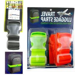 2 Travel Luggage Straps Suitcase Bag Baggage Safety Bright C