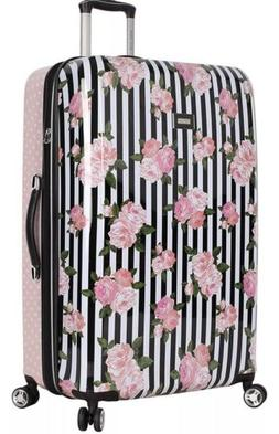 BETSEY JOHNSON 20 IN SUITCASE CARRY ON SPINNER LUGGAGE STRIP