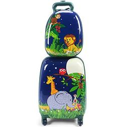 "Goplus 2Pc 12"" 16"" Kids Carry On Luggage Set Upright Hard Si"