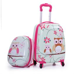 2Pc Kids Carry On Luggage Set Upright Hard Side Hard Shell S