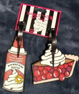 Betsey Johnson 2‑piece Set Rubber Luggage Tags Pie & Whipp