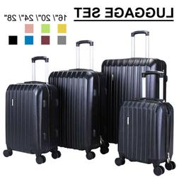 3/4Pcs Travel Luggage Set Bag Trolley Spinner Suitcase ABS w