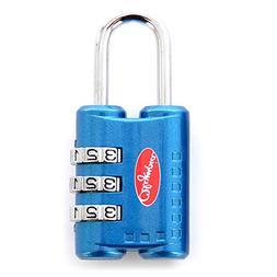 Olympia 3-Dial Shackle TSA Combination Lock BU, Blue, One Si