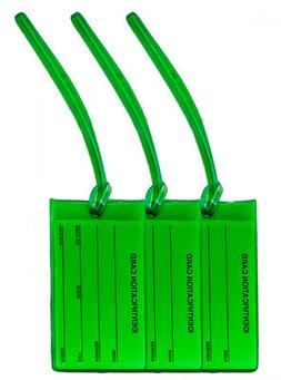 3 Green Jelly Luggage Tags   Made in USA   Fits Business Car