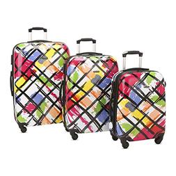 3 PC Luggage Set Durable Lightweight Hard Case pinner Suitec