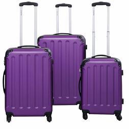 3 PC Purple Luggage Set Bag Trolley Hard Shell Travel Suitca