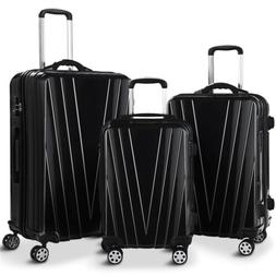 """Set of 3 20"""" 24"""" 28"""" Luggage Set Travel Bag ABS Trolley Suit"""