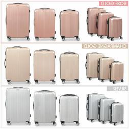 3 Pcs Luggage Set Hard Side Traveling Suitcase Lightweight S