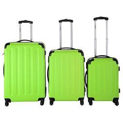 Goplus 3 Pcs Luggage Set Hardside Travel Rolling Suitcase AB