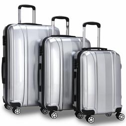 3 PCS Silver Luggage Suitcase Travel Set Hard Shell Trolley