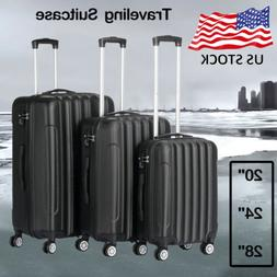 3 piece abs luggage trolley carry on