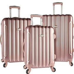 kensie 3 Piece Light Metallic Design 4-Wheel Luggage Set, Ro