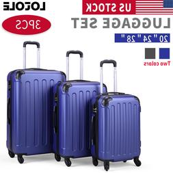 3 Piece Luggage Carry On Set Trolley Suitcase Travel Spinner