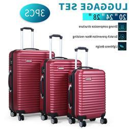 3 Piece Luggage Hard-side Spinner Travel Bag Storage Organiz