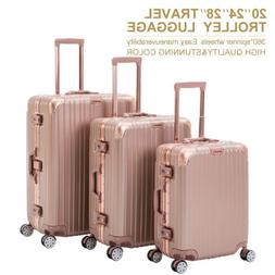 3 Piece Rose Gold Trolley Case Luggage Set Travel Bag Suitca