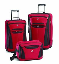 3 Piece Set Luggage Fieldbrook II Red with Black Color