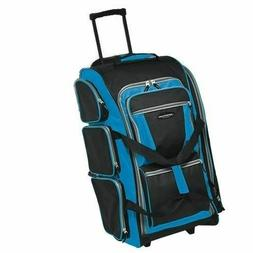 "Travelers Club Luggage 30"" Blue Multi-Pocket Rolling Upright"