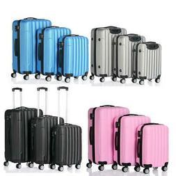 3 PCS Luggage Travel Set Bag wtih TSA Lock ABS Trolley Spinn