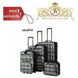 """4pc Travel Expandable Luggage Set Black Plaid 19"""" 24"""" 28"""" Up"""