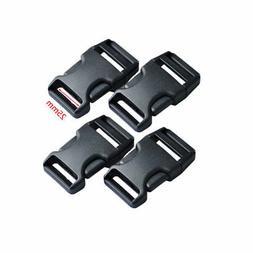 4pcs 25mm Black Plastic Side Release Buckle POM Luggage Stra