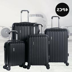 4PCS Luggage Travel Set Bag ABS Spinner Suitcase Lock Black