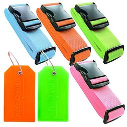 BlueCosto 4x Color Luggage Straps Belts + 2x Suitcase Tags L