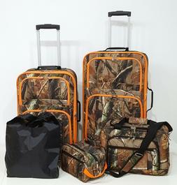 5 Pc. Luggage Suitcase Set Camo color with Hunter Orange Tri