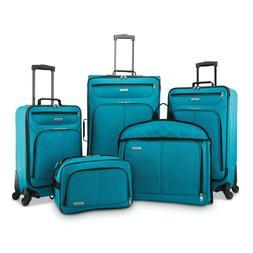 5 Piece Softside Wheeled Luggage Set with Push Button Lockin