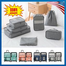 7pcs Travel Bags Waterproof Clothes Storage Luggage Organize