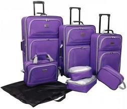 Verdi 8 Pieces Purple Value Travel Luggage Set Lightweight T