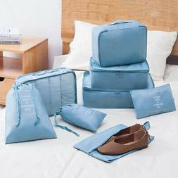 8 set Waterproof Compression Packing Cubes Large Travel Lugg
