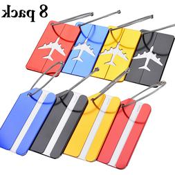 8pcs Luggage Tags Suitcase Label Name Address ID Bag Baggage