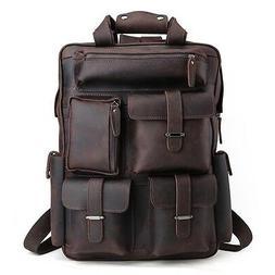 """Men's Real Leather 17"""" Laptop Bag Backpack Large Hiking Trav"""