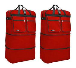 "Pack of 2, 40"" Red Wheeled Duffel Bags Large Rolling Spinner"