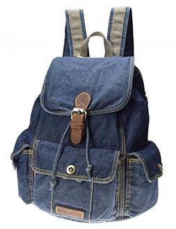 SAIERLONG Women's And Girl's Denim Blue Backpack School Bag