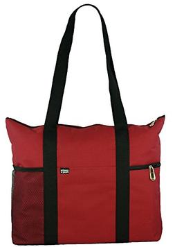 Shoulder Tote with Multiple Pockets and Zipper Closure, Red