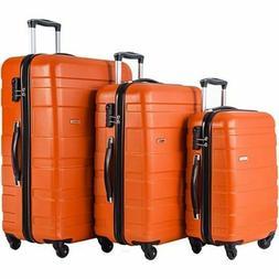 Merax Afuture 3 Piece Luggage Lightweight Spinners Orange Te