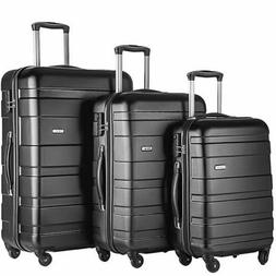 Merax Afuture 3 Piece Luggage Set Lightweight Spinners Black