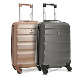 Aerolite Hardshell Carryon Suitcases Pack, Charcoal & Rose G